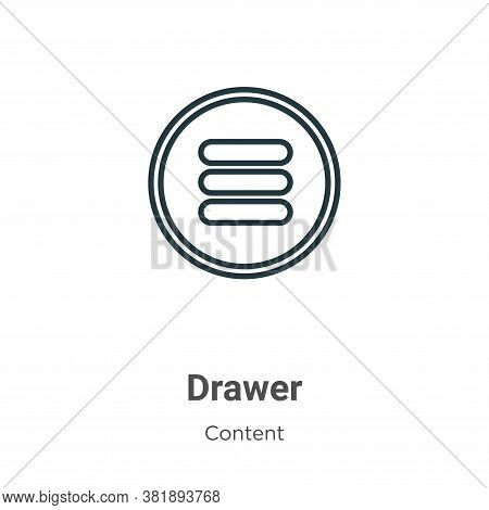 Drawer icon isolated on white background from content collection. Drawer icon trendy and modern Draw