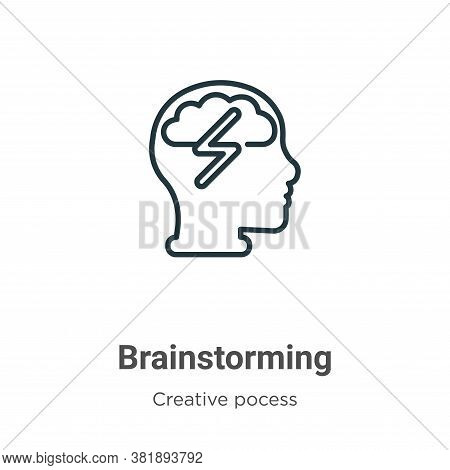 Brainstorming icon isolated on white background from creative pocess collection. Brainstorming icon