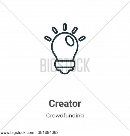 Creator icon isolated on white background from crowdfunding collection. Creator icon trendy and mode