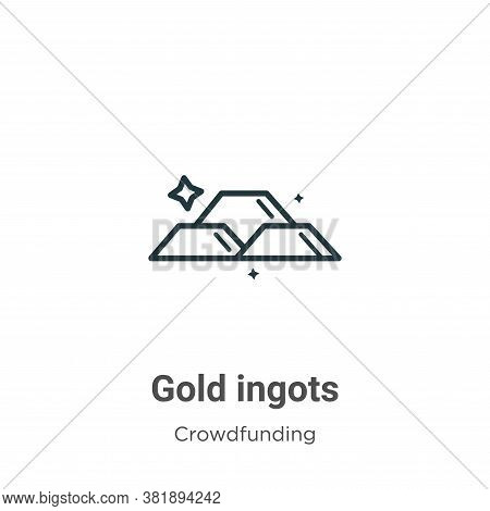 Gold ingots icon isolated on white background from economy and finance collection. Gold ingots icon