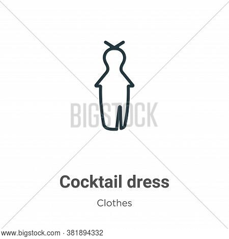 Cocktail dress icon isolated on white background from clothes collection. Cocktail dress icon trendy