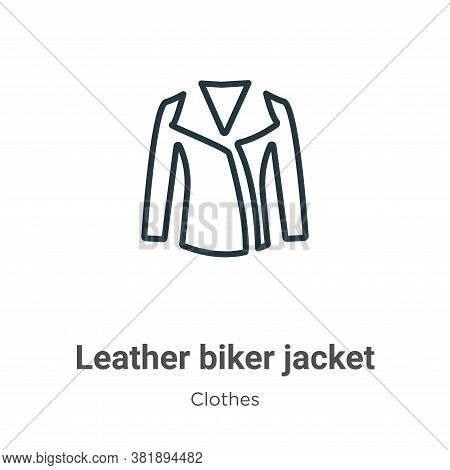 Leather biker jacket icon isolated on white background from clothes collection. Leather biker jacket