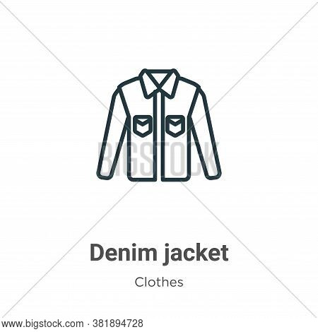 Denim jacket icon isolated on white background from clothes collection. Denim jacket icon trendy and