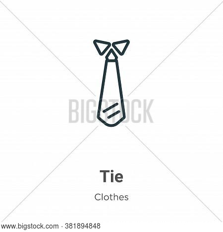 Tie icon isolated on white background from clothes collection. Tie icon trendy and modern Tie symbol