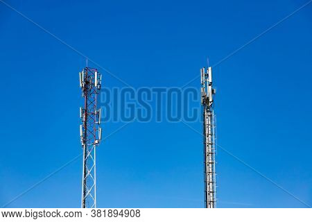 Cellular Base Station Or Base Transceiver Station. Telecommunication Tower. Wireless Communication A