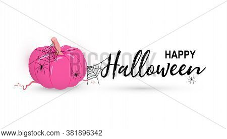 Vector Happy Halloween Day Greeting Card With Pink Pumpkin, Net, Spiders Isolated On White Backgroun