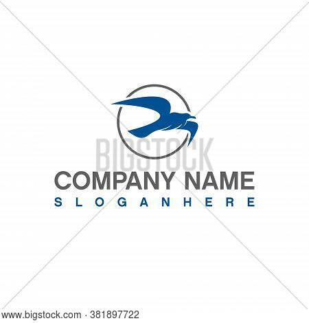 Seagull Logo Abstract Blue Animal Vector For Nautical Or Business Company Design Template