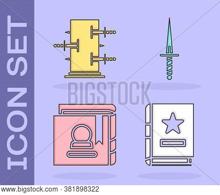 Set Ancient Magic Book, Trunk For Magic Tricks, Ancient Magic Book And Dagger Icon. Vector