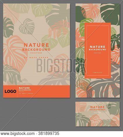 Branding Template Tropical Plant Leaf Pattern Background, For Spa Resort Luxury Hotel, Logo Banner V