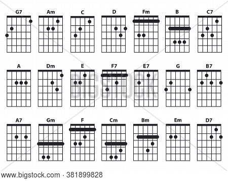 Guitar Chords Icon Set. Guitar Lesson Vector Illustration Isolated On White. Basic Chords Collection