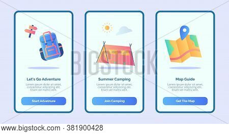 Lets Go Adventure Summer Camping Map Guide For Mobile Apps Template Banner Page Ui With Three Variat