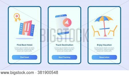 Find Best Hotel Track Destination Enjoy Vacation For Mobile Apps Template Banner Page Ui With Three