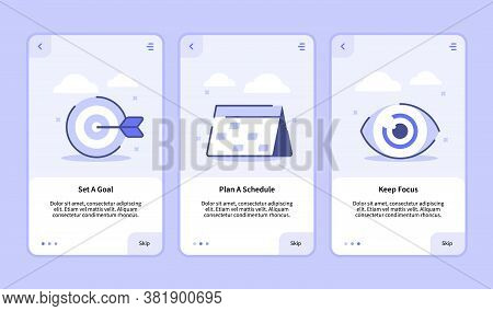 Set A Goal Plan A Schedule Keep Focus Onboarding Screen For Mobile Apps Template Banner Page Ui With