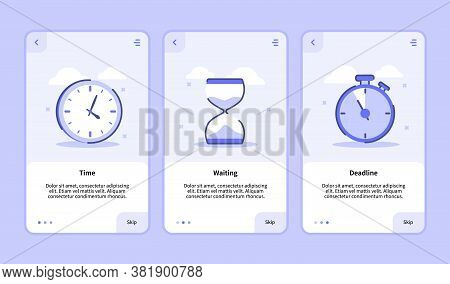 Time Waiting Deadline Onboarding Screen For Mobile Apps Template Banner Page Ui With Three Variation