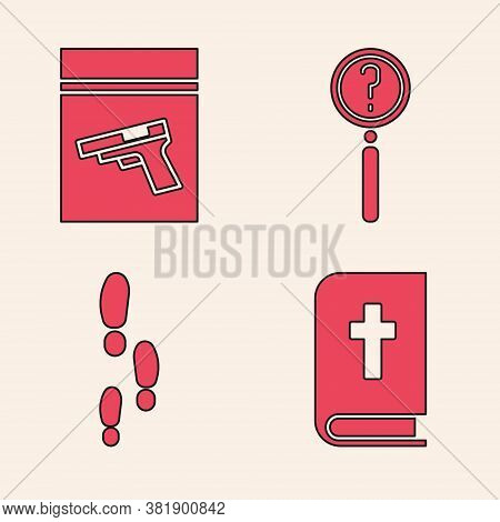 Set Holy Bible Book, Evidence Bag And Pistol Or Gun, Magnifying Glass With Search And Footsteps Icon