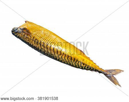 Smoked Mackerel Fish On A White Plate. Salted Mackerel Fish. Canned Food. Food Photo. Recipe. Menu O