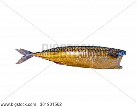 Smoked Mackerel Fish On A White Plate. Salted Mackerel Fish. Canned Food. Food Photo. Recipe. Menu O