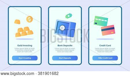 Gold Investing Bank Deposit Credit Card For Mobile Apps Template Banner Page Ui With Three Variation