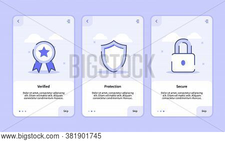 Security Verified Protection Secure Onboarding Screen For Mobile Apps Template Banner Page Ui With T