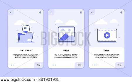 File And Folder Photo Video Onboarding Screen For Mobile Apps Template Banner Page Ui With Three Var