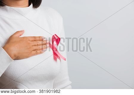 Breast Cancer Awareness Healthcare And Medicine Concept. Close Up Asian Woman Wear White Shirt She H