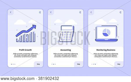 Profit Growth Accounting Monitoring Business For Mobile Apps Template Banner Page Ui With Three Vari
