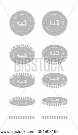 British Pound Rotating Coins Set, Animation Ready. Black And White Gbp Silver Coins Rotation. United