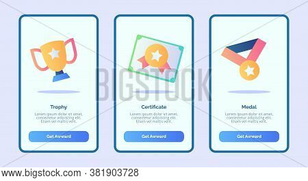 Trophy Certificate Medal For Mobile Apps Template Banner Page Ui With Three Variations Modern Flat C