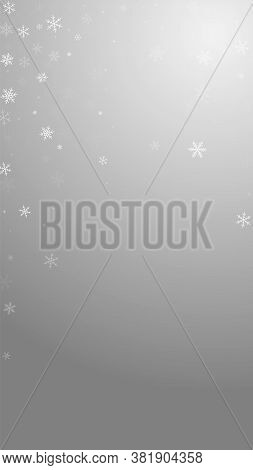 Sparse Snowfall Christmas Background. Subtle Flying Snow Flakes And Stars On Grey Background. Alluri