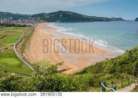 Aerial View To The Zarautz Beach, Basque Country, Spain On A Beautiful Summer Day.