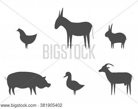 Farm Animals Black Outline Set Vector Illustration. Pig, Duck, Goat, Chicken, Rabbit And Donkey Isol