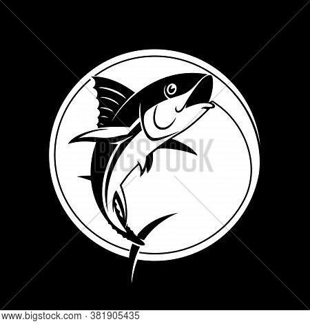 Fishing Logo Template - Tuna Vector Sign. Catching Tuna On The Hook. Black And White. Stock Vector I