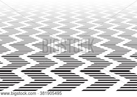 Zigzag textured surface in diminishing perspective. Abstract geometric background.