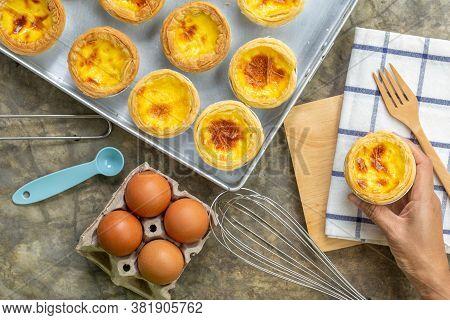 Dessert Egg Tart Or Portugal Egg Tart Sweet Custard Cream On Wooden Board And Bright Gray Concrete B