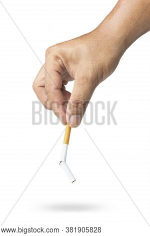 The Hand Picked Up The Broken Cigarette To Throw Away, Broken Cigarette In Hand Close-up, Stop Smoki