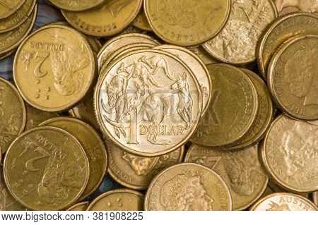 A Pile Of Australian One And Two Dollar Coins