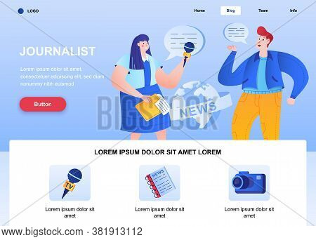 Journalist Flat Landing Page. Correspondent Interviewing Man Web Page. Colorful Composition With Peo