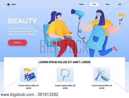 Beauty Flat Landing Page. Hairdresser Makes Hairstyle For Young Woman In Beauty Salon Web Page. Colo