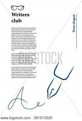 Pen Icon, Signature In The Style Of Brush Strokes. Signature In The Form Of The Letter A. Letterhead
