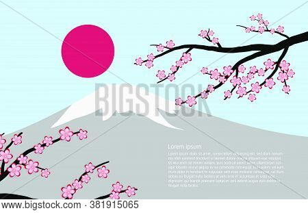 Fuji Mountain Background With Cherry Blossom And Sun In Paper Cut Style.