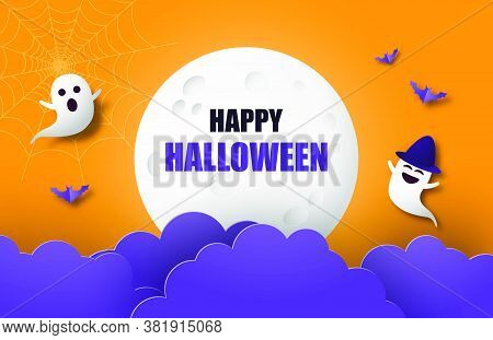 Happy Halloween Banner Or Poster Background With Big Moon, Night Clouds, Ghost And And Bat In Paper