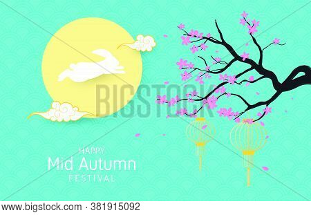 Mid Autumn Festival With Rabbit, Moon, And Cherry Blossom In Paper Cut Style.