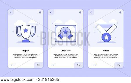 Trophy Certificate Medal Onboarding Screen For Mobile Apps Template Banner Page Ui With Three Variat