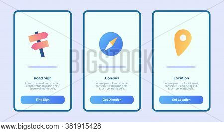 Road Sign Compass Location For Mobile Apps Template Banner Page Ui With Three Variations Modern Flat
