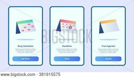 Busy Schedule Deadline Free Agenda For Mobile Apps Template Banner Page Ui With Three Variations Mod