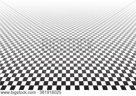 Abstract geometric checked pattern and texture in diminishing perspective.