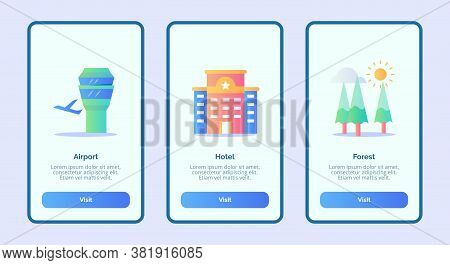 Airport Hotel Forest Or Mobile Apps Template Banner Page Ui With Three Variations Modern Flat Color