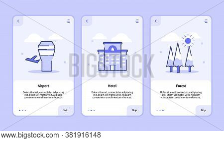 Airport Hotel Forest Onboarding Screen For Mobile Apps Template Banner Page Ui With Three Variations