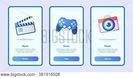 Movie Game Photo For Mobile Apps Template Banner Page Ui With Three Variations Modern Flat Color Sty