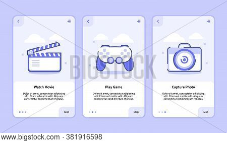 Watch Movie Play Game Capture Photo For Mobile Apps Template Banner Page Ui With Three Variations Mo